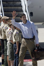 Francisco Kjolseth  |  The Salt Lake Tribune Republican vice presidential nominee Paul Ryan arrives at the Provo Municipal Airport on Wednesday, Sept. 5, 2012, for a round of fundraising events.