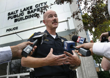 Scott Sommerdorf  |  The Salt Lake Tribune              Salt Lake Police Chief Chris Burbank speaks to the press Thursday, Sept. 6, 2012, about a man who died in police custody. He denied that police used a Taser on Allen Nelson.