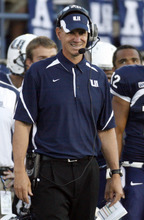 Rick Egan   |  The Salt Lake Tribune  Aggie head coach Gary Andersen, smiles as his team leads the Bengals,  in football action,  Utah State vs. Idaho State football game, Saturday, September 11, 2010.