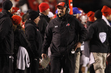 Utah head coach Kyle Whittingham walks the sidelines during the second half of an NCAA college football game against UCLA in Salt Lake City, on Saturday, Nov. 12, 2011. Utah won 31-6. (AP Photo/Jim Urquhart)
