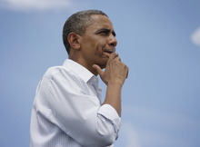 President Barack Obama gestures while speaking before a crowd during a campaign stop at St. Petersburg College Seminole Campus, Saturday, Sept. 8, 2012, in St. Petersburg, Fla. (AP Photo/Pablo Martinez Monsivais)