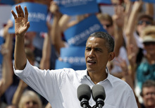 President Obama waves to supporters during a campaign rally Saturday, Sept. 8, 2012, in Seminole, Fla. (AP Photo/Chris O'Meara)