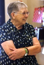 Rick Egan  | The Salt Lake Tribune   Merle Hansen smiles as she is honored for her 41 years of service at JCPenneyy, Thursday, August 16, 2012.  Merle Hansen has been a store clerk at the JCPenney store in the Valley Fair Mall for 41 years. She was honored by her work colleagues on Thursday morning, before the store opens to customers.