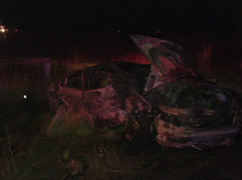 A 22-year-old was critically injured Saturday night after he crashed his car near West Weber. Courtesy Weber County Sheriff's Office