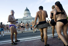 Kim Raff | The Salt Lake Tribune People gather in front of the capital building during the 5k Utah Undie Run in Salt Lake City, Utah on September 9, 2012. Thousands of people gathered in hopes of breaking last years record of 2,270 people which was the largest gathering of people wearing only underpants.