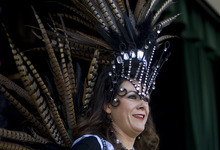 Kim Raff   The Salt Lake Tribune A woman dressed in a Samba costume dances on stage during the Samba Parade during the 8th annual Brazilian Festival at the Gallivan Center in Salt Lake City, Utah on September 8, 2012.