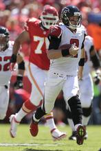 Atlanta Falcons quarterback Matt Ryan (2) runs the ball during the first half of an NFL football game against the Kansas City Chiefs, Sunday, Sept. 9, 2012, in Kansas City, Mo. (AP Photo/Charlie Riedel)