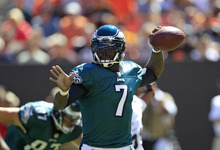 Philadelphia Eagles quarterback Michael Vick throws in the first quarter of an NFL football game against the Cleveland Browns, Sunday, Sept. 9, 2012, in Cleveland. (AP Photo/Tony Dejak)