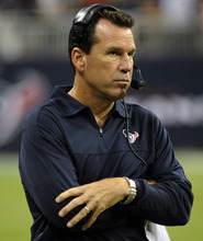 Houston Texans head coach Gary Kubiak watches his team in action against the Minnesota Vikings during the second half of an NFL preseason football game, Thursday, Aug. 30, 2012, in Houston. (AP Photo/Dave Einsel)