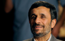 Iranian President Mahmoud Ahmadinejad is interviewed by journalists from The Associated Press, Sunday, Sept. 19, 2010 in New York. (AP Photo/Henny Ray Abrams)
