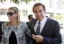 Casino mogul Steve Wynn arrives at court with his wife, Andrea, for his slander trial Thursday Sept. 6, 2012 in Los Angeles. Wynn is contesting accusations made by