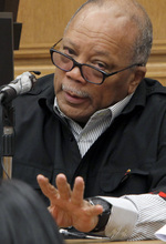 Music mogul, Quincy Jones testifies in court Thursday Sept. 6, 2012 in Los Angeles  during a slander trial against Joe Francis. Jones testified Thursday that he never told