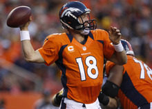 Denver Broncos quarterback Peyton Manning throws against the Pittsburgh Steelersduring the first quarter of an NFL football game, Sunday, Sept. 9, 2012 in Denver. (AP Photo/David Zalubowski)