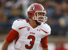 Utah's Jordan Wynn yells to his team during the first quarter against Utah State during an NCAA college football game Friday, Sept. 7, 2012, in Logan. (AP Photo/The Salt Lake Tribune, Trent Nelson)