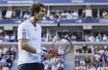 Britain's Andy Murray reacts while playing Serbia's Novak Djokovic during the championship match at the 2012 US Open tennis tournament,  Monday, Sept. 10, 2012, in New York. (AP Photo/Charles Krupa)