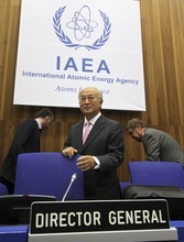 Director General of the International Atomic Energy Agency, IAEA, Yukiya Amano from Japan waits for the start of the IAEA board of governors meeting at the International Center in Vienna, Austria, Tuesday Sept. 11, 2012. (AP Photo/Ronald Zak)