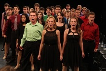 Courtesy photo Sixty teenagers -- including Utahn Peter Lambert (front row, left) perform at the Jimmy Awards.