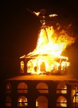 Rick Egan  | The Salt Lake Tribune   Flames engulf The Burning Man, Saturday night, during Burning Man 2012, in the Black Rock Desert, NV, September 1, 2012.