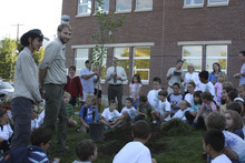 Bonneville Elementary School celebrate their new Utah Green Schools tree award. On Friday, September 7, 2012, the school won the Platinum Utah Green Schools Award for their green efforts during the 2011-2012 school year. Photo courtesy Bonneville Elementary.