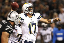San Diego Chargers quarterback Philip Rivers (17) throws a touchdown pass to wide receiver Malcom Floyd against the Oakland Raiders during the second quarter of an NFL football game in Oakland, Calif., Monday, Sept. 10, 2012. (AP Photo/Tony Avelar)