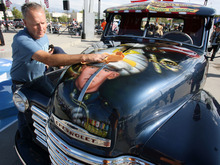 Steve Griffin | The Salt Lake Tribune   Dave Vinnedge, father of Lance Corporal Phillip David Vinnedge, who died while serving in Afghanistan, polishes the vintage truck he, and his wife, Julie Vinnedge, restored in honor of their son. They were at an event at Fairbourne Station Plaza, in West Valley City on Tuesday, Sept. 11, 2012. The Vinnedge's fulfilled his dream of restoring a 1951 Chevy truck complete with murals honoring him, his family, his military colleagues and those lost on September 11, 2001. Lance Cpl. Vinnedge's parents now travel and display the truck in memory of their son. They will be in Camp Pendleton Sept. 13, 2012 to show the truck to his son's platoon. Phillip was deployed with the 3rd Battalion, 5th Marine Regiment to Afghanistan and on October 13, 2010 Phillip was driving the lead vehicle on a security patrol with Lcpl Victor Dew, Lcpl Joe Rodewald and Cpl Justin Cain when a large IED was remotely detonated killing all 4 instantly.