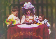 In this image released by Britain's National Media Museum on Wednesday, Sept. 12, 2012, Alfred Raymond Turner, Agnes May Turner and Wilfred Sidney Turner, circa 1902, are depicted amongst the earliest color moving pictures ever made, which have been rediscovered after more than 100 years. The footage, made by cinematic pioneer Edward Turner in around 1901, was found in the archives of the National Media Museum in Bradford and with the help of experts at the BFI National Archive was transformed into watchable digital files. (AP Photo/National Media Museum)