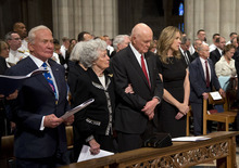 From left, Apollo 11 astronaut Buzz Aldrin, Annie Glenn, wife of former Ohio Sen. John Glenn, Jonh Glenn and singer Diana Krall pause during a memorial service for Apollo 11 astronaut Neil Armstrong, Thursday, Sept. 13, 2012,  at the National Cathedral in Washington.  (AP Photo/Pool, Evan Vucci, Pool)