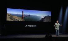 Phil Schiller, Apple's senior vice president of worldwide marketing, speaks about camera quality of the iPhone 5 during an Apple event in San Francisco, Wednesday, Sept. 12, 2012. (AP Photo/Jeff Chiu)