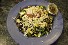 Paul Fraughton | The Salt Lake Tribune A steak salad with roasted vegetables at Mountain West Burrito in Provo.