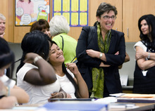 Kim Raff | The Salt Lake Tribune U.S. Education Chief of Staff Joanne Weiss listens in on an 8th grade math class during a visit to Glendale Middle School, one of many stops on the Education Department's 2012 cross-country, back-to-school bus tour,