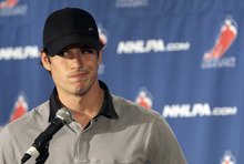 Pittsburgh Penguins hockey player  Sidney Crosby speaks to reporters during a news conference in New York, Thursday, Sept. 13, 2012. With a lockout looking increasingly certain, the NHL players' union meets Thursday followed by an owners' meeting at league headquarters with Commissioner Gary Bettman.  (AP Photo/Mary Altaffer)