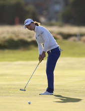 So Yeon Ryu of South Korea putts on 18 during her first round at the Women's British Open golf championships at Royal Liverpool Golf Club, Hoylake, England, Thursday Sept. 13, 2012.  (AP Photo/Jon Super)