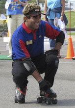 Nate Snow, of Taylorsville, competes to be America's No. 1 skating carhop in the Dr Pepper/RC Sports SONIC Skate-Off on Friday, Aug. 17, in Oklahoma City, Okla. Snow is a carhop at SONIC restaurants in Sandy and American Fork.