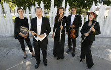 Francisco Kjolseth  |  The Salt Lake Tribune The Utah Symphony has five new members:  Associate librarian Maureen Conroy, percussionist Keith Carrick, flutist Mercedes Smith, oboist Lissa Stolz and violinist Claude Halter, from left, seen outside Abravanel Hall.