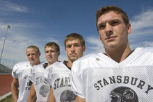 Paul Fraughton | Salt Lake Tribune Linebackers  for the Stansbury High School football team from left: Chase Christiansen, Chandler Staley, Jackson Clausing and Colton May.