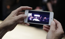 The panorama feature of the Apple iPod touch is shown on display following the introduction of new Apple products in San Francisco, Wednesday, Sept. 12, 2012.  (AP Photo/Eric Risberg)