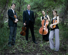 Quartet members Robert Waters (violin), Brad Ottesen (viola), Anne Francis Bayless (cello) and Rebecca McFaul (violin).  Courtesy photo
