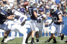 Chris Detrick  |  The Salt Lake Tribune BYU quarterback Riley Nelson throws the ball against Weber State at LaVell Edwards Stadium in Provo on Sept. 8, 2012.