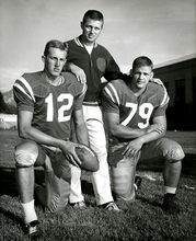 Archives | The Salt Lake Tribune   Utah Football Coach Ray Nagel, center, with players Ken Peterson and Jerry Nofsinger.  Nagel was the head football coach form 1958-1965.