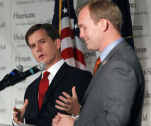 Al Hartmann  |  The Salt Lake Tribune Candidates for Salt Lake County mayor,  Mark Crockett, left,  and Ben McAdams debate at the Utah League of Cities and Towns annual conference Friday September 14.