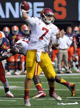 Southern California quarterback Matt Barkley passes during the first quarter of an NCAA college football game against Syracuse on Saturday, Sept. 8, 2012, in East Rutherford, N.J. USC defeated Syracuse 42-29. (AP Photo/Bill Kostroun)