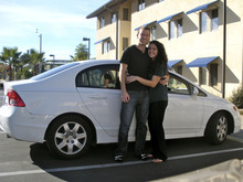 Courtesy Jamila Benkato Jamila Benkato and her boyfriend, Levi LaChappelle, prepare to leave Santa Barbara, Calif., in June after graduating with their masters' degrees. The couple's three-hour pit stop at the parking garage under the newly opened City Creek Shopping Center in downtown Salt Lake City cost them nearly everything they owned. The Honda Civic was packed to the roof with their entire college lives. All of it was stolen when their car was broken into, most likely never to be recovered. The estimated loss: $6,000.