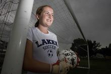 Paul Fraughton | Salt Lake Tribune All-state goal keeper for the Bonneville Lakers, Megan Fillpot.   Monday, September 10, 2012