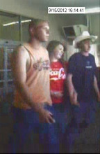 Courtesy Unified Police and Unified Fire Surveillance photos of the three suspects involved in the Riverton Wal-Mart chemical spray incident. 2 Caucasian males, 18-19 years old, one in all black and a cowboy hat and 1 Caucasian female, 18-19 years old. If anyone has information as to the suspects identities they are asked to call the Unified Police Department at 801-743-7000.