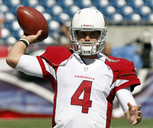 Arizona Cardinals quarterback Kevin Kolb warms up before an NFL football game against the New England Patriots, Sunday, Sept. 16, 2012, in Foxborough, Mass. (AP Photo/Stephan Savoia)