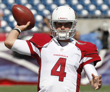 Arizona Cardinals quarterback Kevin Kolb warms up before an NFL football game against the New England Patriots Sunday, Sept. 16, 2012 in Foxborough, Mass. (AP Photo/Stephan Savoia)