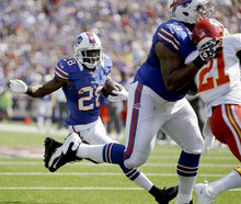 Buffalo Bills' C.J. Spiller (28) runs for a touchdown against the Kansas City Chiefs during the first half of an NFL football game in Orchard Park, N.Y., Sunday, Sept. 16, 2012. (AP Photo/Gary Wiepert)