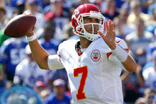 Kansas City Chiefs quarterback Matt Cassel throws during the first quarter of an NFL football game against the Buffalo Bills in Orchard Park, N.Y., Sunday, Sept. 16, 2012. (AP Photo/Bill Wippert)