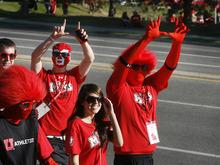 Scott Sommerdorf  |  The Salt Lake Tribune              Utah fans arrive in costumes at the