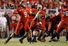Chris Detrick  |  The Salt Lake Tribune Utah Utes quarterback Jon Hays (9) throws the ball during the first half of against BYU at Rice-Eccles Stadium Saturday September 15, 2012.